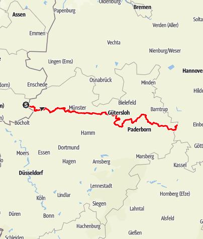 Karte / Europaradweg R1- Westfälischer Teil Vreden - Höxter