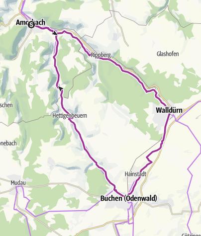 Karte / Radrundtour über Walldürn/Buchen - Route 4