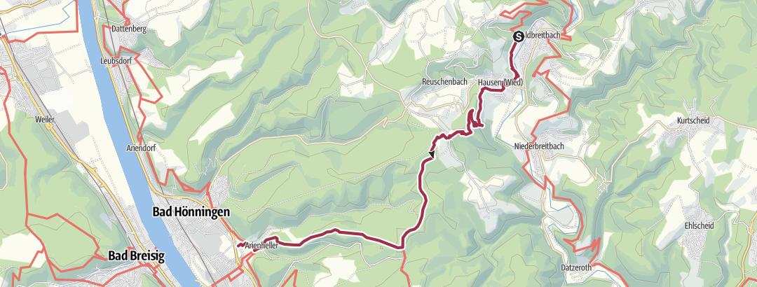 Carte / Westerwald-Steig étape 16 Waldbreitbach - Bad Hönningen (Est-Ouest)