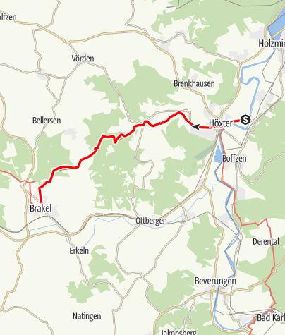 Karte / Jakobsweg - Etappe von Höxter bis Brakel