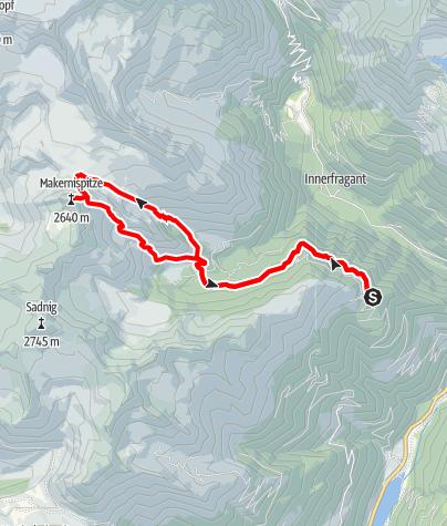 Karte / Maggernig-Spitze (Makernig-Spitze) von der Rollbahn/Grossfragant