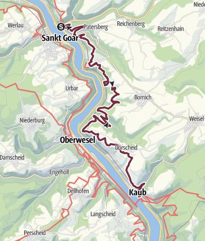 Map / Rheinsteig Stage 15: St. Goarshausen - Kaub (North - South)