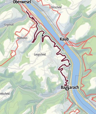 Karte / RheinBurgenWeg 03. Etappe Bacharach - Oberwesel (Süd-Nord)