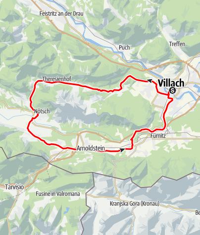 Karte / Mit dem Rennrad um den Dobratsch