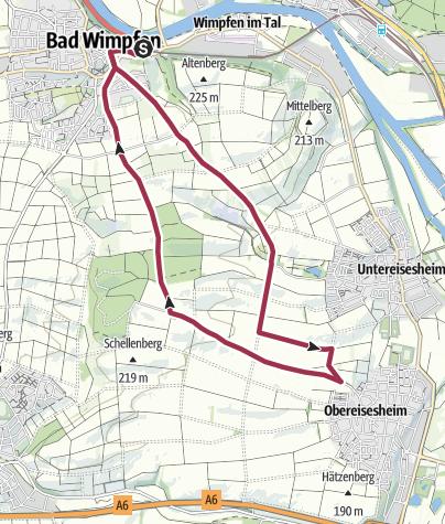 Karte / Wanderung von Bad Wimpfen zur Waldschänke