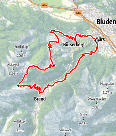 Karte / Brandnertal-Rundtour | Brand-Bürserberg-Bürs