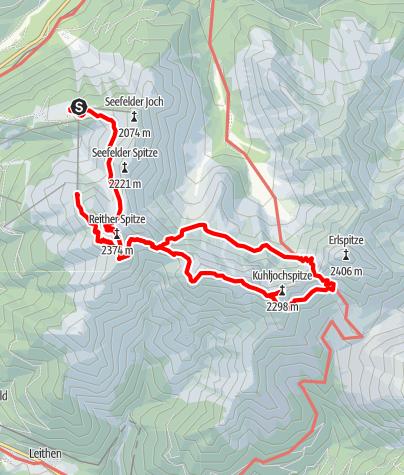 Kaart / Nördlinger Hütte-Freiungen Höhenweg-Eppzirler Scharte-Urspu,rungsattel