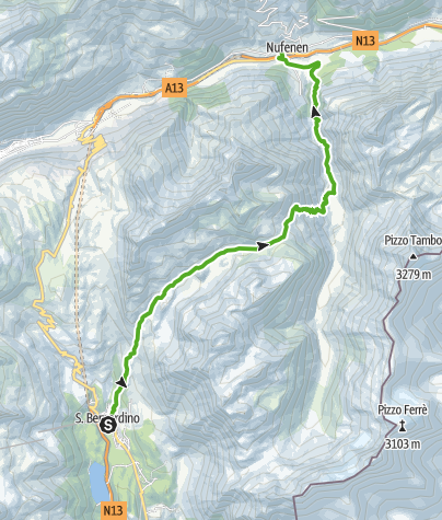 Karte / S.Bernardino - Val Vignun - Nufenen