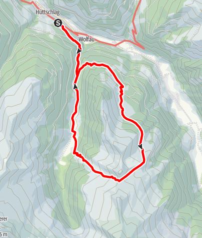 Karte / Hüttschlag: Hirschgrubenalm - Aschlreitalm - Hühnerkaralm-Hub-Grundalm