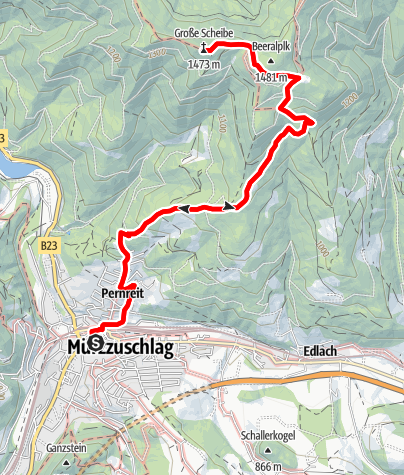 Karte / Große Scheibe - Der Mürzzuschlager Hausberg