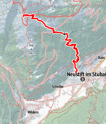 Karte / Neustift - Starkenburger Hütte über Bachertal