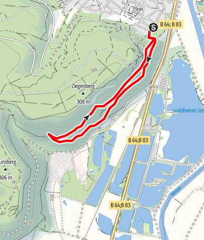 Kaart / Nordic Walking in Höxter – Route 2 (leicht)