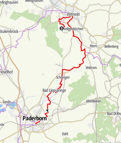Karte / Die Römer-Lippe-Route in 5 Etappen (1. Etappe: Detmold > Paderborn)