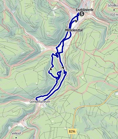 Karte / Urwalderlebnistour Enzklösterle