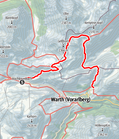 Karte / Mindelheimerhütte - Schrofenpass