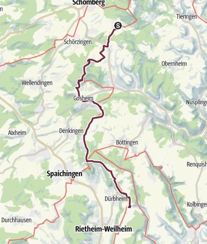 Karte / Albsteig (HW1) – Etappe 15 - Von Gosheim nach Tuttlingen