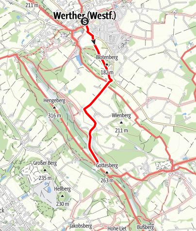 Karte / Zugangsweg Hermannshöhen: Werther (Westf.)