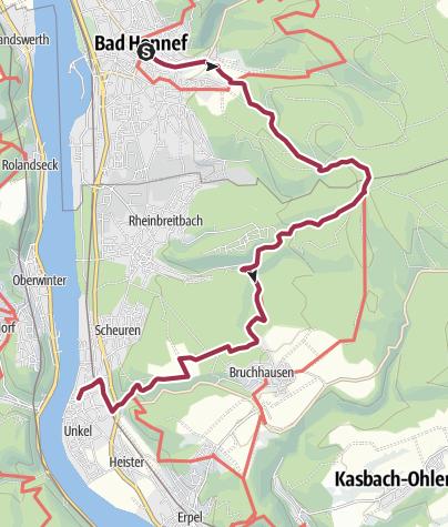 Karte / Rheinsteig Etappe 4: Von Bad Honnef nach Unkel
