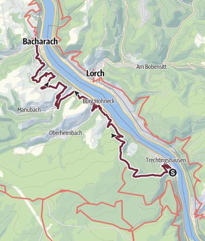 Karte / RheinBurgenWeg 02. Etappe Trechtingshausen-Bacharach (Süd-Nord) - Umleitung wegen Unwetterschäden!