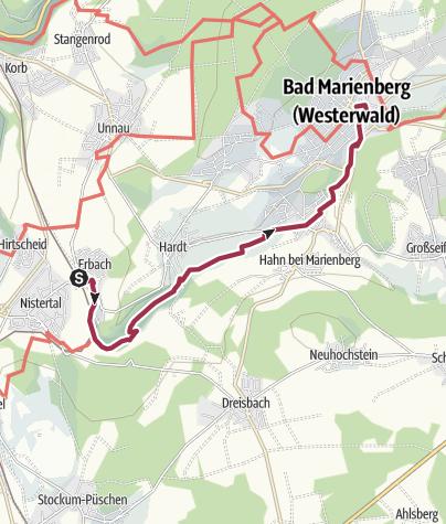 Kaart / Westerwald-Steig - 7e etappe: Nistertal - Bad Marienberg (oost-west)