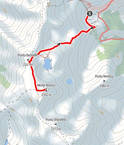 Kaart / Lac de Bastani und Monte Rinosu