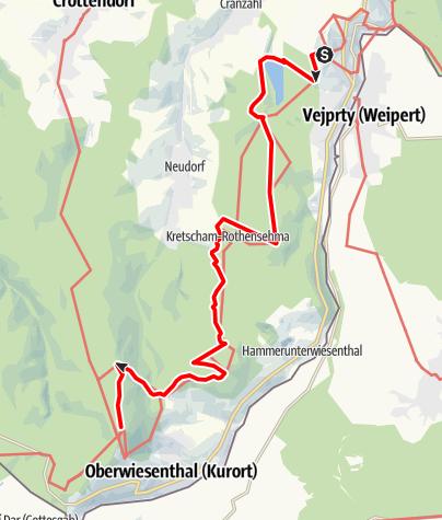 """Karte / Kammweg Etappe 08 """"Vom Bärenstein zum Fichtelberg Kurort Oberwiesenthal"""""""