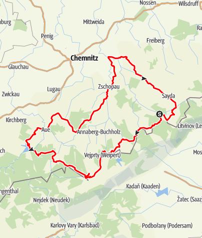 Karte / Kurve an Kurve bis zum höchsten Berg Sachsens
