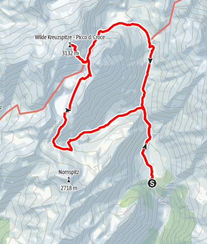 Kaart / Von der Fane Alm zur Wilden Kreuzspitze