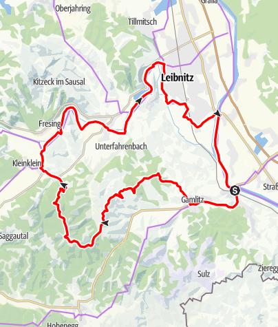 """Karte / Genussradeln - Weinstraßen Tour Variante 1 - """"Kranachberg-Heimschuh"""""""