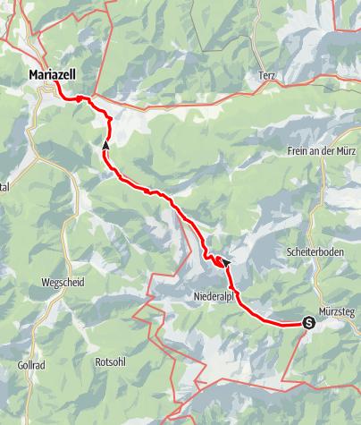 Karte / Mariazeller Weg 10. Tagesetappe B