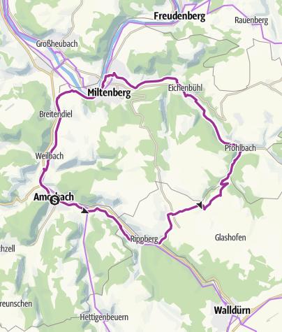Karte / Radrundtour über Gottersdorf/Miltenberg