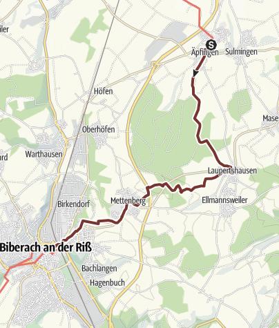 Karte / Der Jakobusweg - Etappe 3 von Äpfingen bis Biberach an der Riß