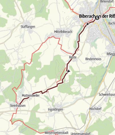 Karte / Der Jakobusweg - Etappe 4 von Biberach bis Steinhausen