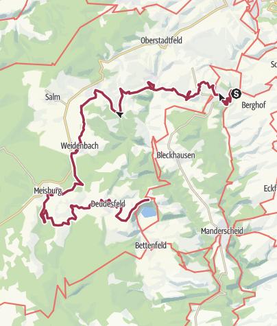 Karte / Vulkaneifel-Pfad: Hinterbüsch-Pfad (2-Tages-Tour) (Üdersdorfer Mühle - Weidenbach - Meerfeld)