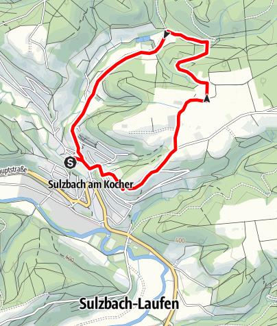 Karte / Idyllische Straße Tour W / Sulzbach-Laufen - Durch das Irsbachtal zur Schlosskirche
