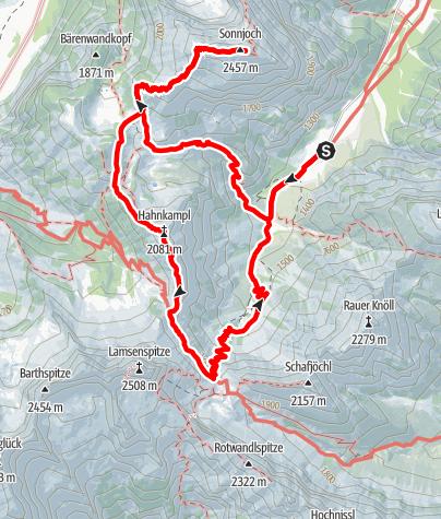 Kaart / Sonnjoch-Hahnkampl, Rundtour, Karwendel Ost