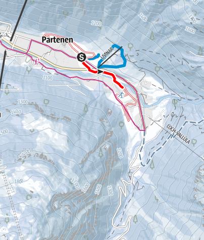 Karte / Verbindungsloipe Partenen (klassisch)