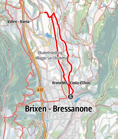 Mapa / Promenadenwanderung am Sonnenhang von Kranebitt bei Brixen