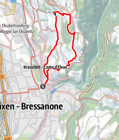 Mapa / Auf dem Archeopfad zwischen Brixen und Elvas