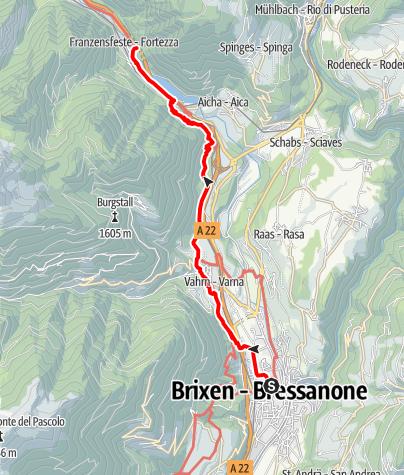 Kaart / Geschichtsparcours von Brixen nach Franzensfeste