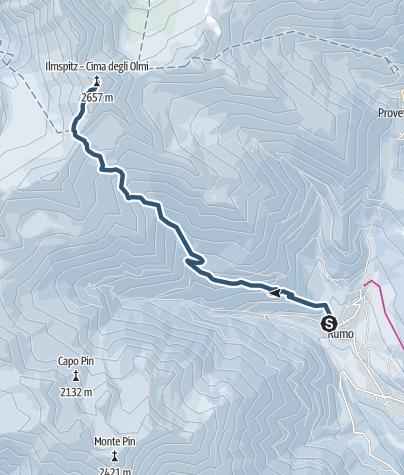Cartina / Skitour auf die Cima degli Olmi in der Gruppe der Maddalene