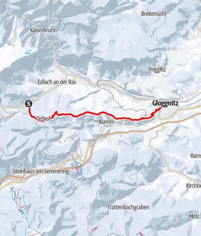 Térkép / Schneeschuhwandern: Prein - Kreuzberg - Gloggnitz