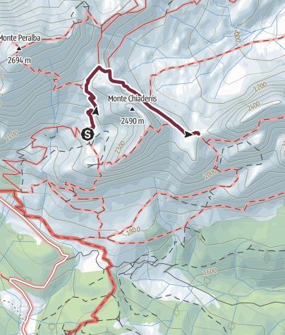 Karte / 34 PASSO DEI CACCIATORI von der Calvi-Schutzhütte - Sappada