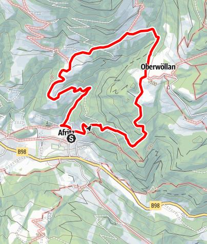 Karte / Wandern in den Nockbergen - Am Wöllaner Rundweg von Afritz nach Oberwöllan