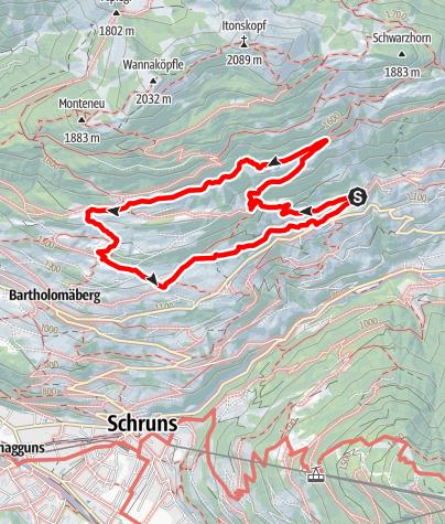 Karte / Rundwanderweg auf dem Bartholomäberg über Tora-, Fula- und Fritzasee