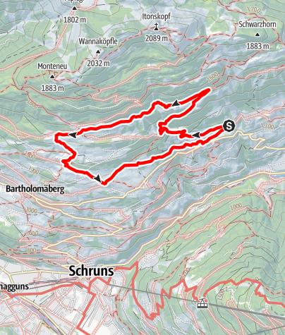 Map / Rundwanderweg auf dem Bartholomäberg über Tora-, Fula- und Fritzasee