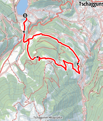Karte / Latschau - Aquaweg - Grabs - Gafadura - Latschau