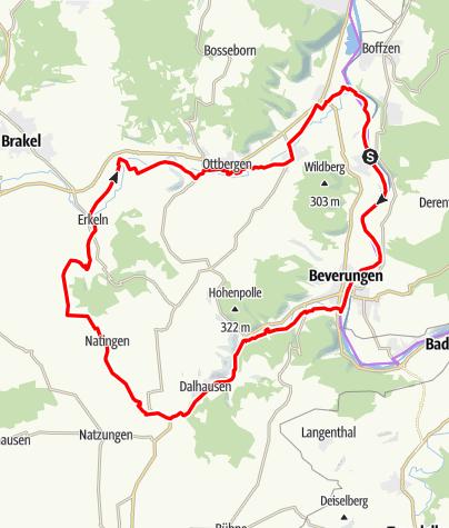 Karte / Weserhöhen - Tourenvorschlag 1: Weser - Bever - Nethe