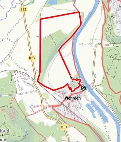 """Karte / Weserhöhen-Spaziergang """"Rund um den Steinberg bei Beverungen-Wehrden"""""""