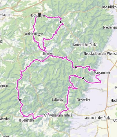 """Map / Rennrad 4 - Hochspeyer - Wilgartswiesen - Edenkoben - Maikammer - """"Königsetappe"""""""